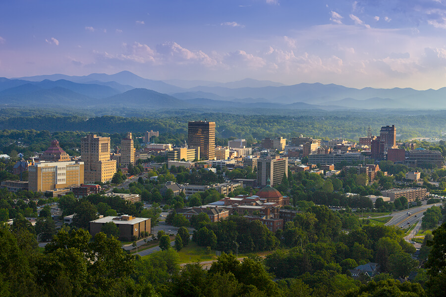The Asheville skyline photo, taken by Samsel Architects